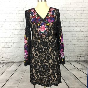 INC embroidered black floral lace dress Fantasia